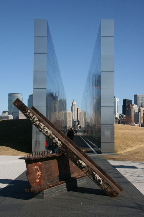 Empty Sky memorial and World Trade Center beams