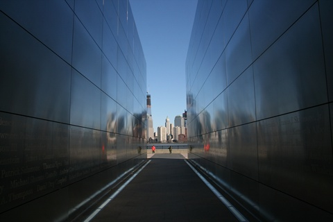sighting down the Empty Sky memorial, toward the World Trade Center site