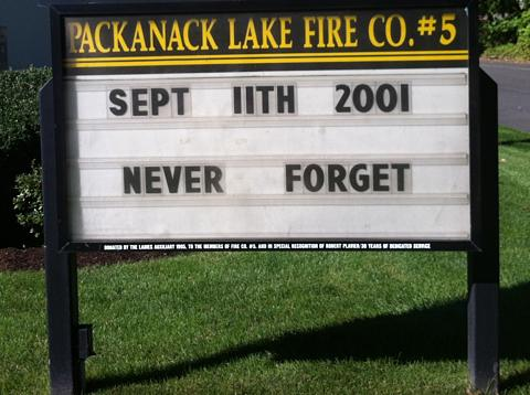 sign at Packanack Lake Fire House, September 11, 2012