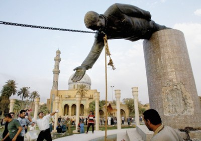 the famous toppling of a Saddam Hussein statue