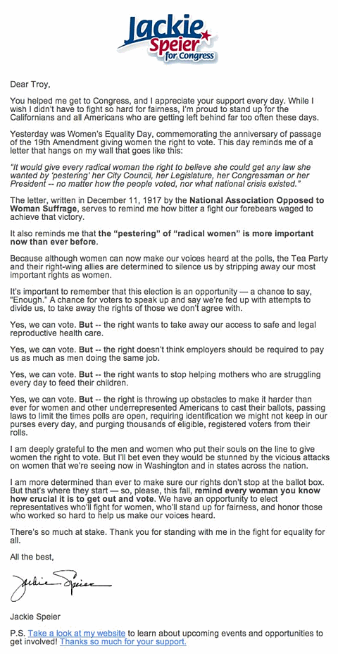 'Every Radical Woman' Campaign Email, Received from Jackie Speier for Congress, 2012-08-27