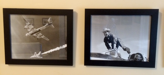 Framed photos of X-2 drop, and Joe Walker with X-1A