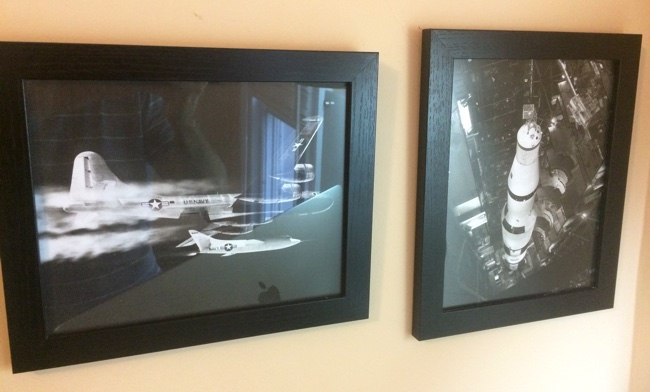 Framed pictures of D-558-2 and Saturn V